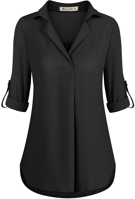 Moyabo Womens 3/4 Cuffed Sleeve Notched Collar Casual Office Work Chiffon Blouse Top