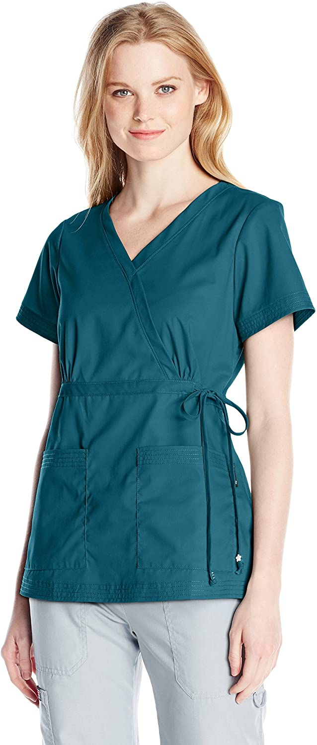 KOI Women's Katelyn Easy-fit Mock-wrap Scrub Top with Adjustable Side Tie, Caribbean, X-Large