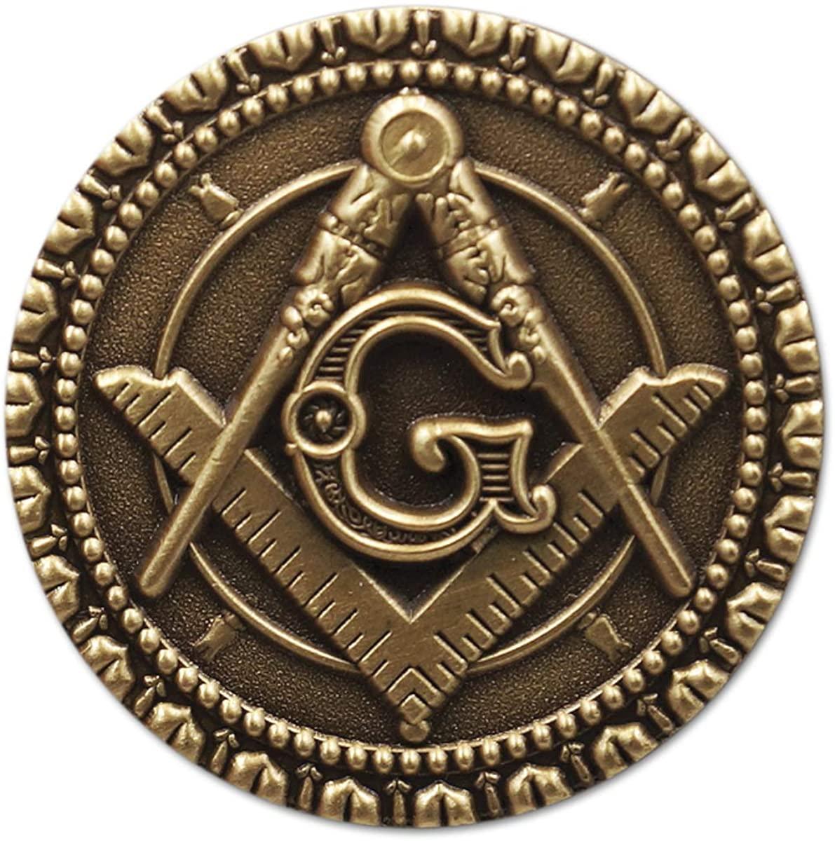 Square & Compass Round Masonic Lapel Pin - [Antique Brass Finish][1'' Diameter]