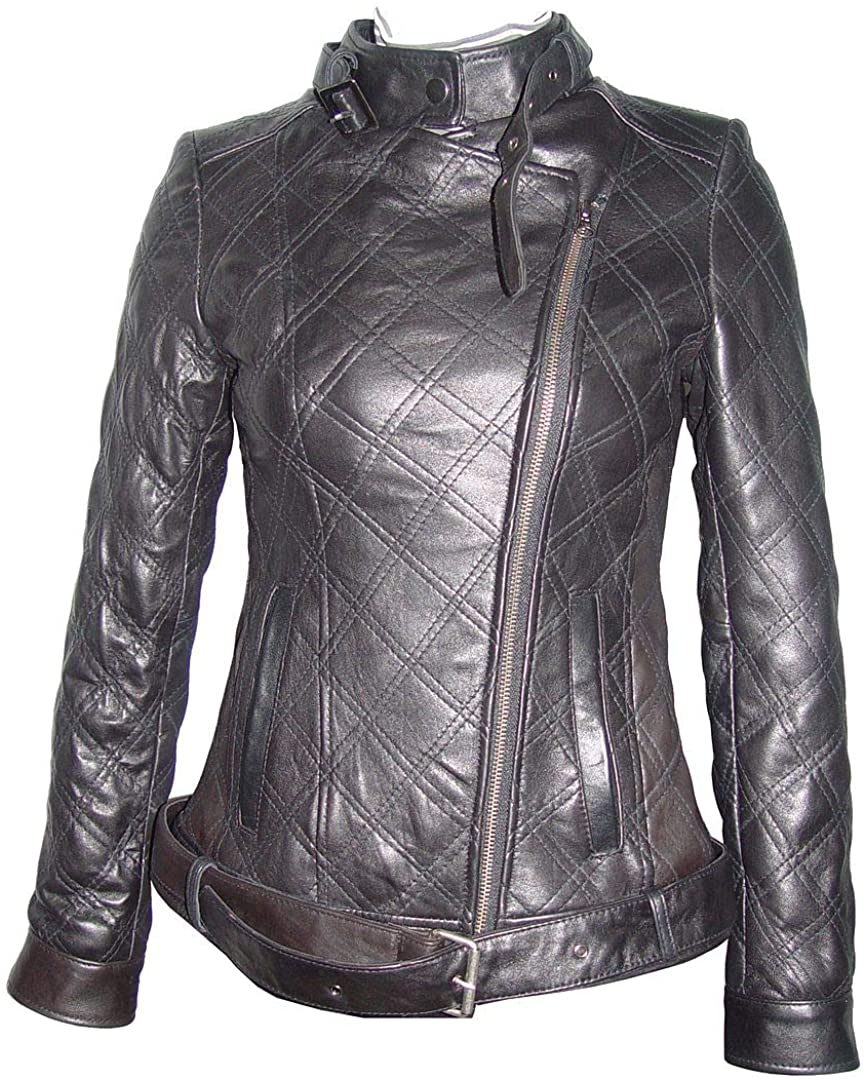 Women Supple Lambskin Top Grain Black Leather Quilted Fashion Motorcycle Jacket