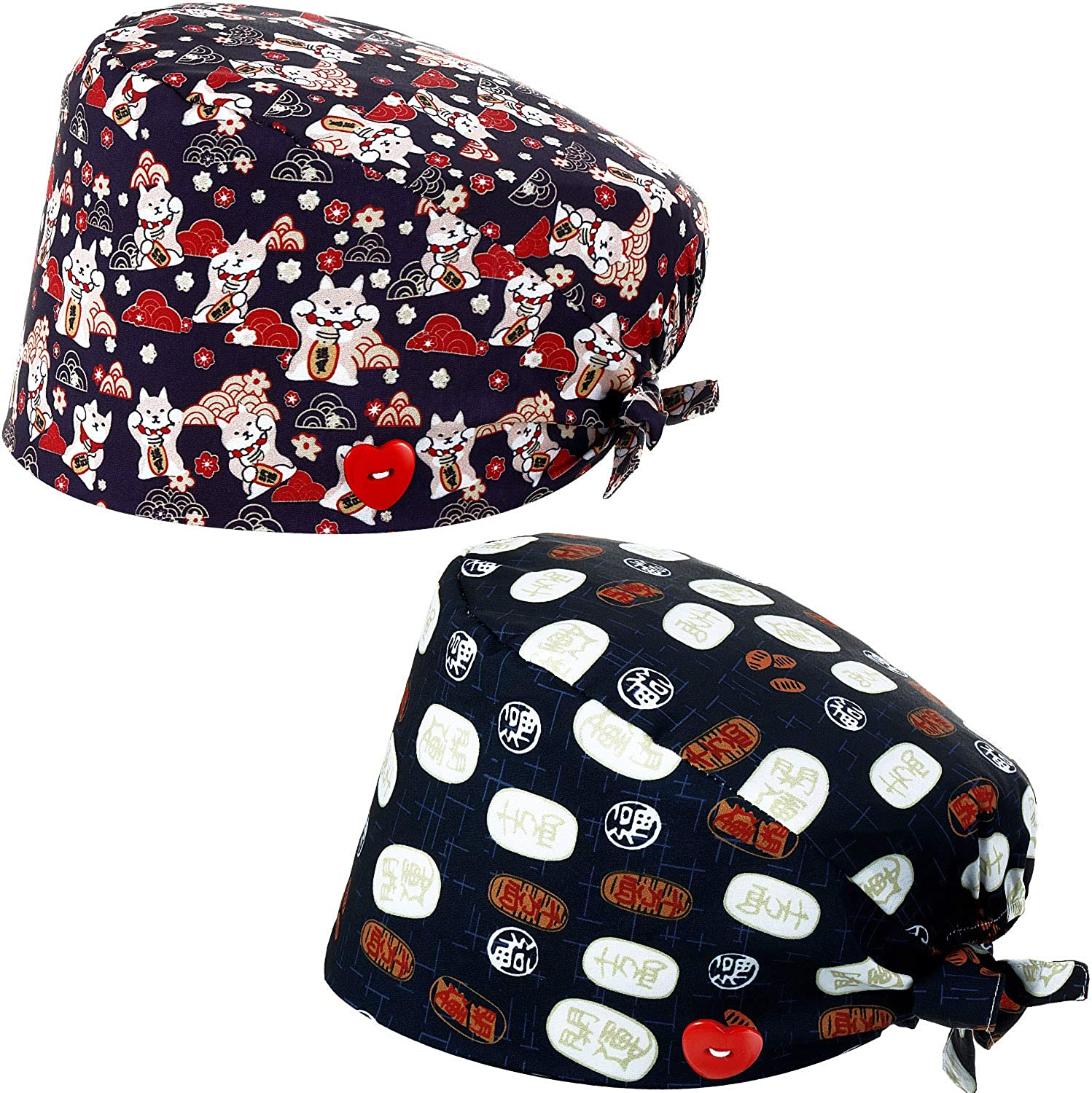 2 Pieces Scrub Caps with Button Sweatband Working Caps Adjustable Turban Bouffant Hats Printed Hair Covers for Women Men