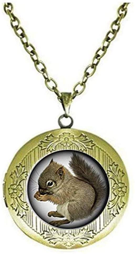 Cute Squirrel Glass Locket Necklace Art Photo Jewelry Birthday Festival Gift Beautiful Gift