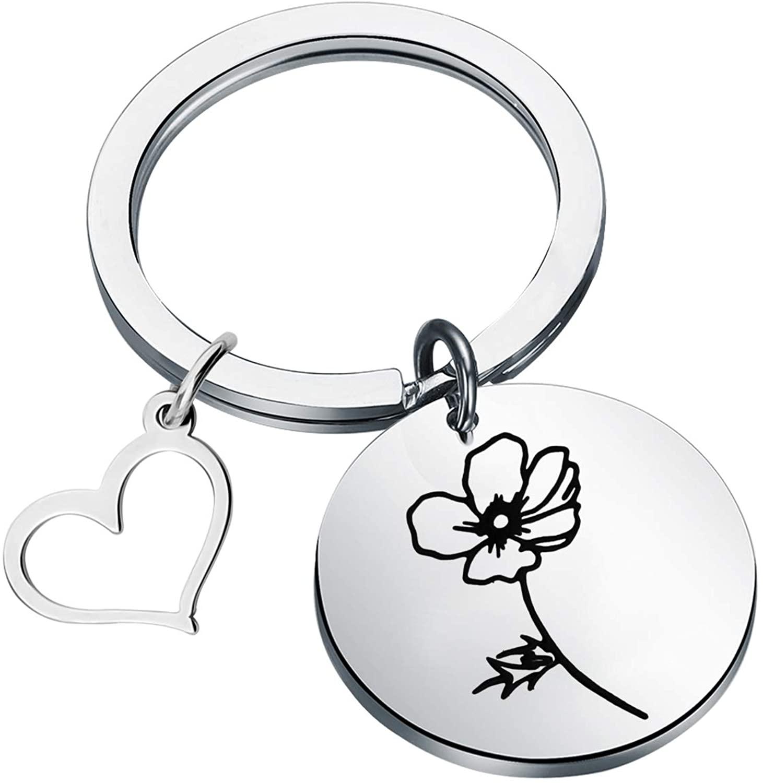 FOTAP Birth Flower Jewelry Dainty Birth Flower keychain Birthday Gift Birth Month Jewelry Mothers Day Gift Flower Lover Gift