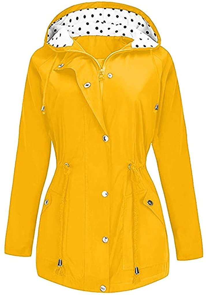 Adeliber Women's Jacket Autumn and Winter Comfortable Solid Raincoat Outdoor Jacket Hooded Raincoat Windproof Coat