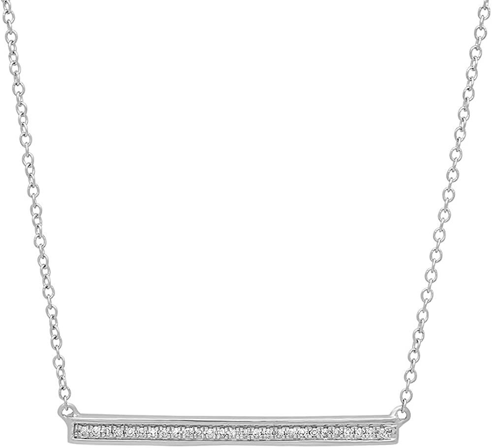 Dazzlingrock Collection 0.12 Carat (ctw) 14K Gold White Diamond Ladies Bar Shape Fashion Pendant with 18 Inch Silver Chain