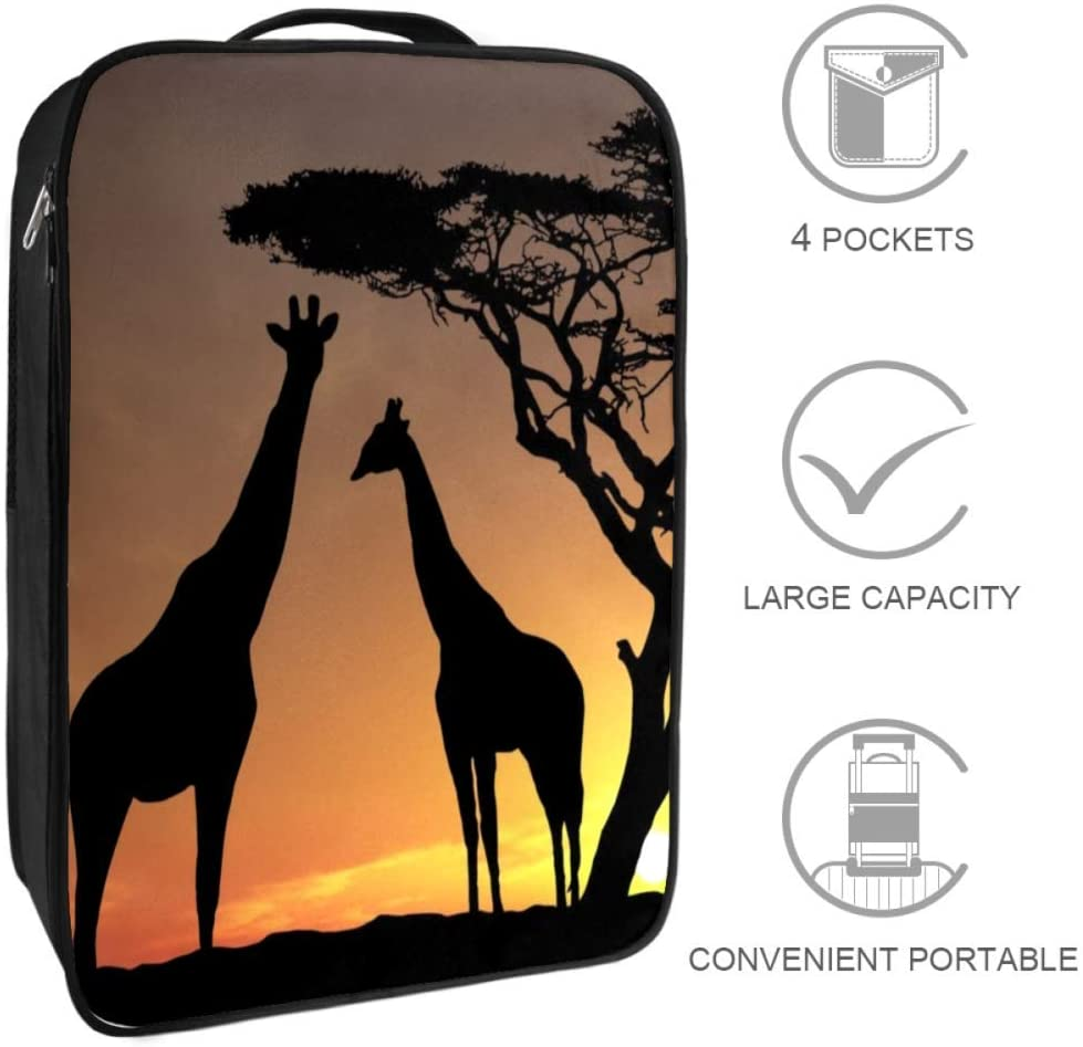 Zuyoon Sunset Tree Giraffe Large Travel Shoes Bag Pouch Waterproof dustproof Portable Storage Easy to Carry for Women Men and Children 9x12x6 in