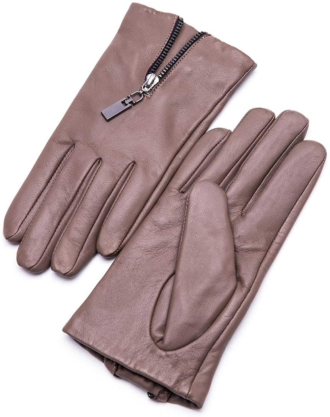 YISEVEN Womens Winter Driving Touchscreen Sheepskin Leather Gloves Zipper Short