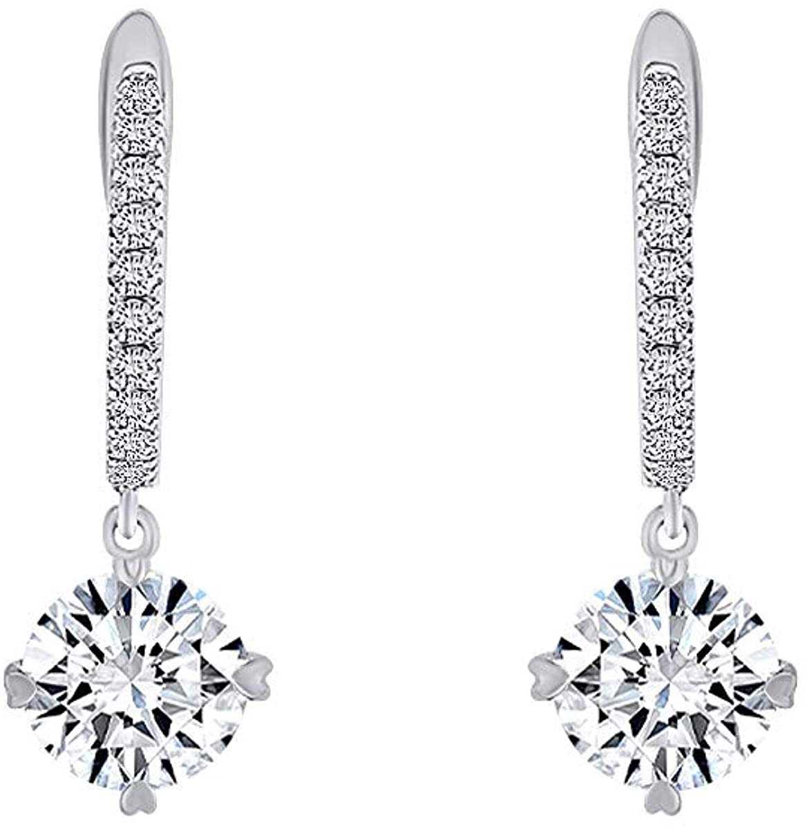 2 Cttw Womens Round White Moissanite Halo Hoop Earrings 14Kt Gold Over Sterling Silver