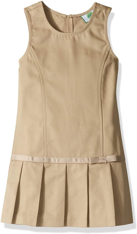 Classroom School Uniforms Girls' Big Pleated Bow Jumper, Khaki, 8.0
