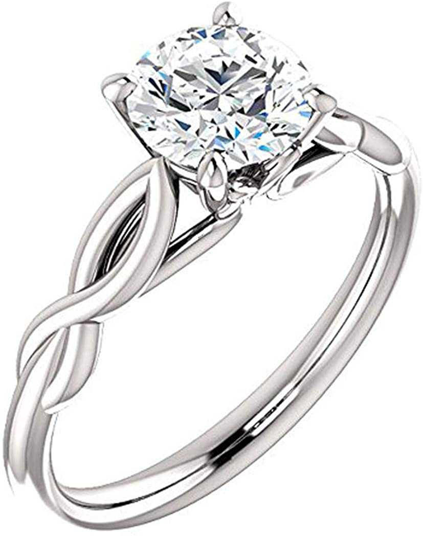 GNG Solid 10k White Gold 1.0 CT Infinity Style Simulated Diamond Solitaire Engagement Ring. Promise Bridal Ring