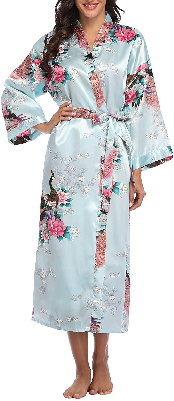 Vogue Bridal Women's Long Satin Kimono Robes Pure Color Silk Kimono Bathrobes with Oblique V-Neck for Wedding