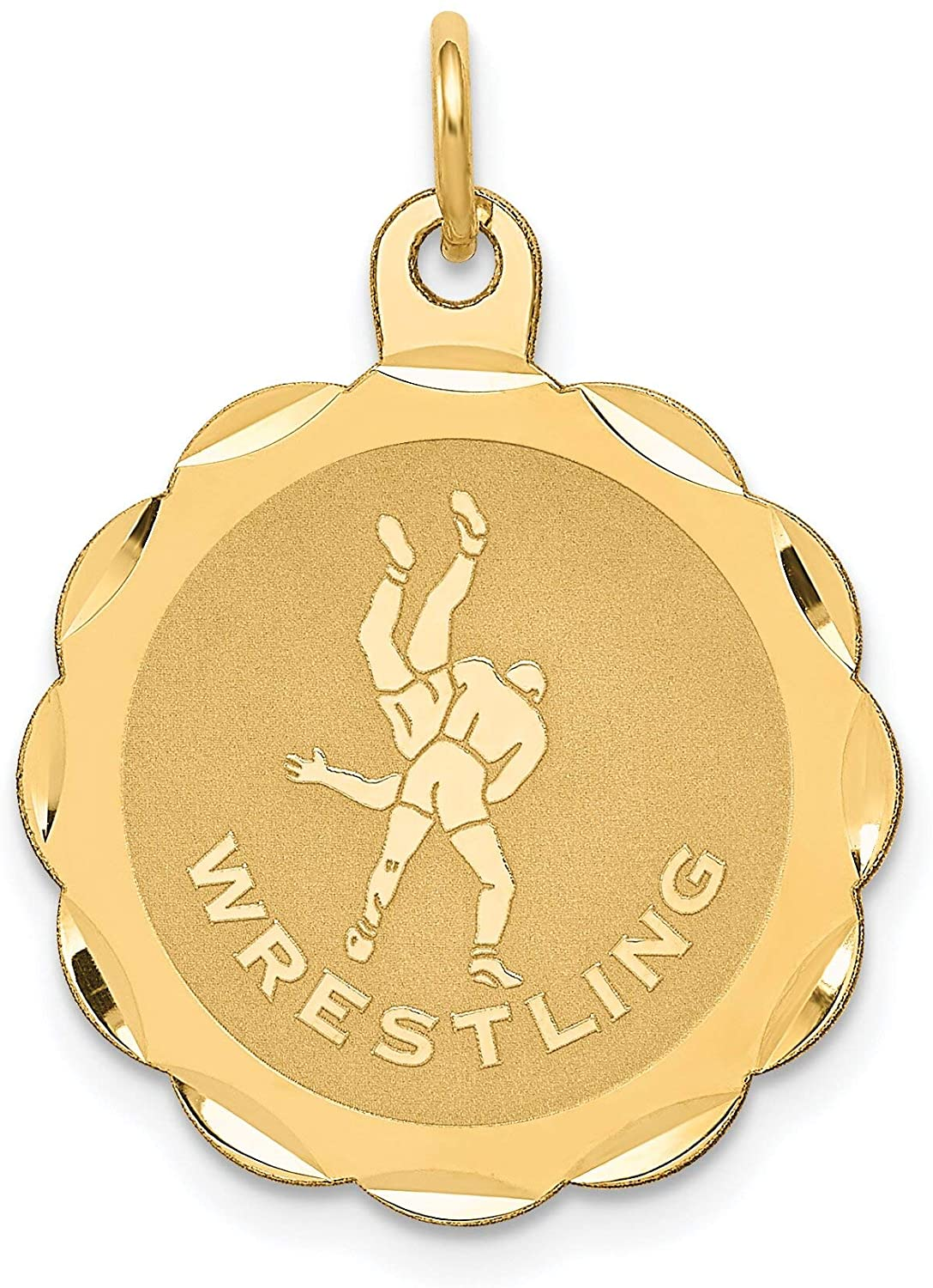 14K Yellow Gold Wrestling Disc Charm Sports Jewelry