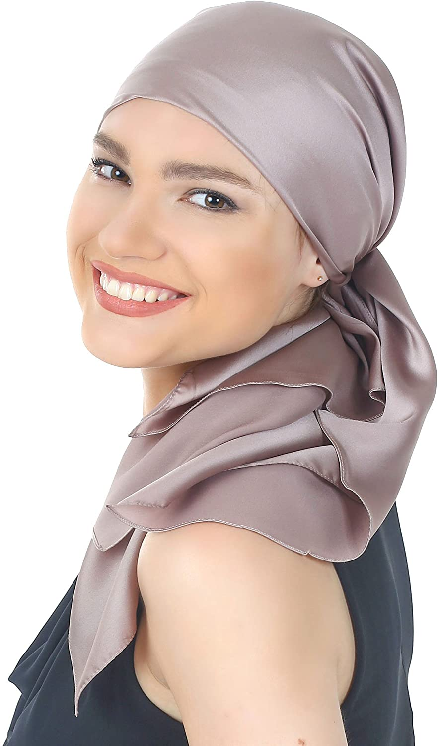Womens Crepe Satin Luxurious Square Head Scarves - Solid Colours (90cmx90cm) for Cancer Chemo Hair Loss