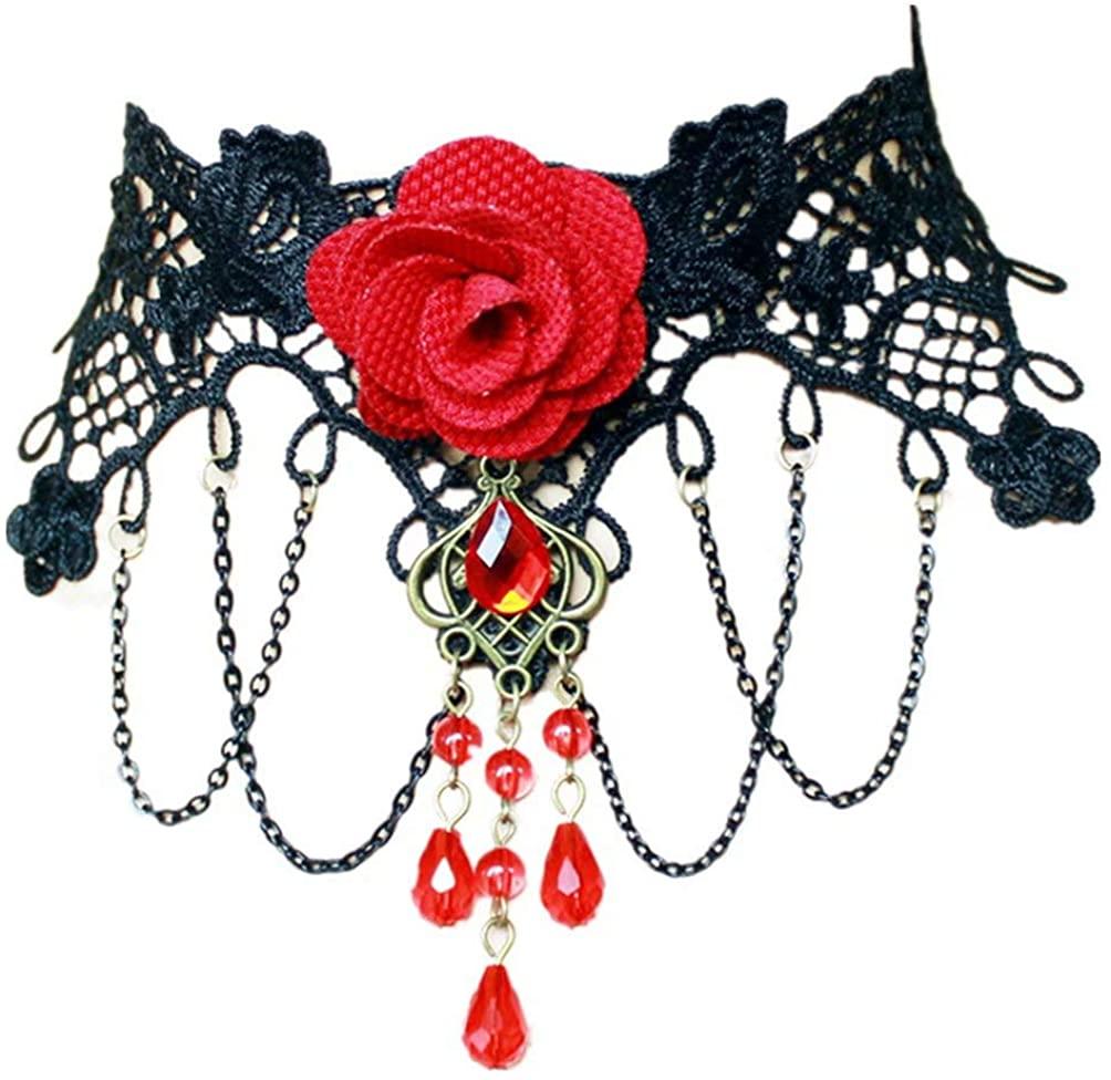 LEFINIS Handmade Vampire Black Lace Red Rose Flower Tassel Dangle Beads Women Choker Necklace