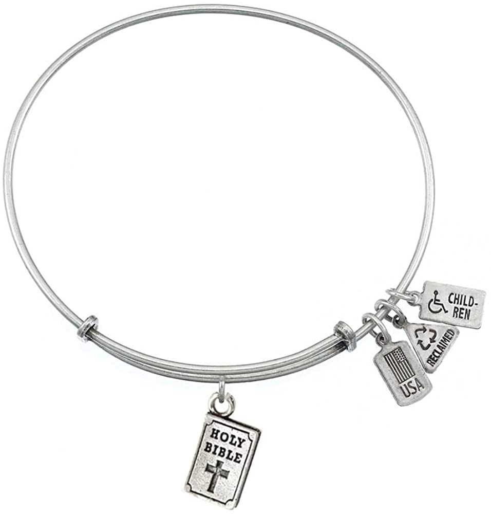 Wind and Fire Holy Bible Silver Plated Charm Bangle