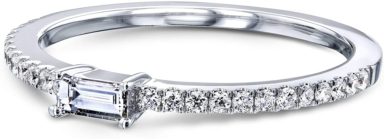 Kobelli Petite Sideways Baguette Diamond White Gold Promise Ring
