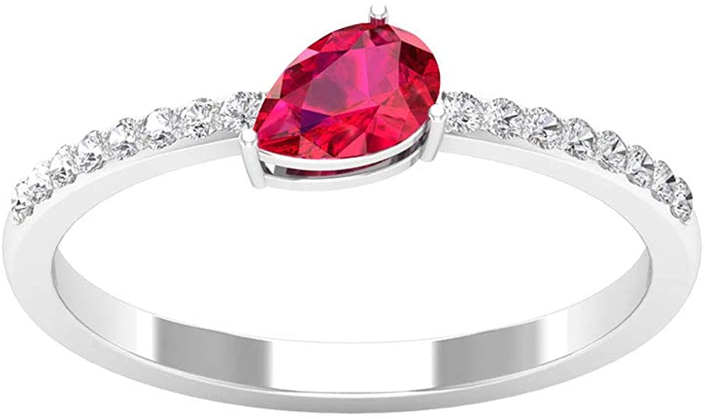 0.5 Ct Pear Shape Ruby Wedding Ring, 0.10Ct SGL Certified Diamond Women Ring, IJ-SI Color Clarity Diamond Promise Ring, Solitaire Gemstone Bridal Ring