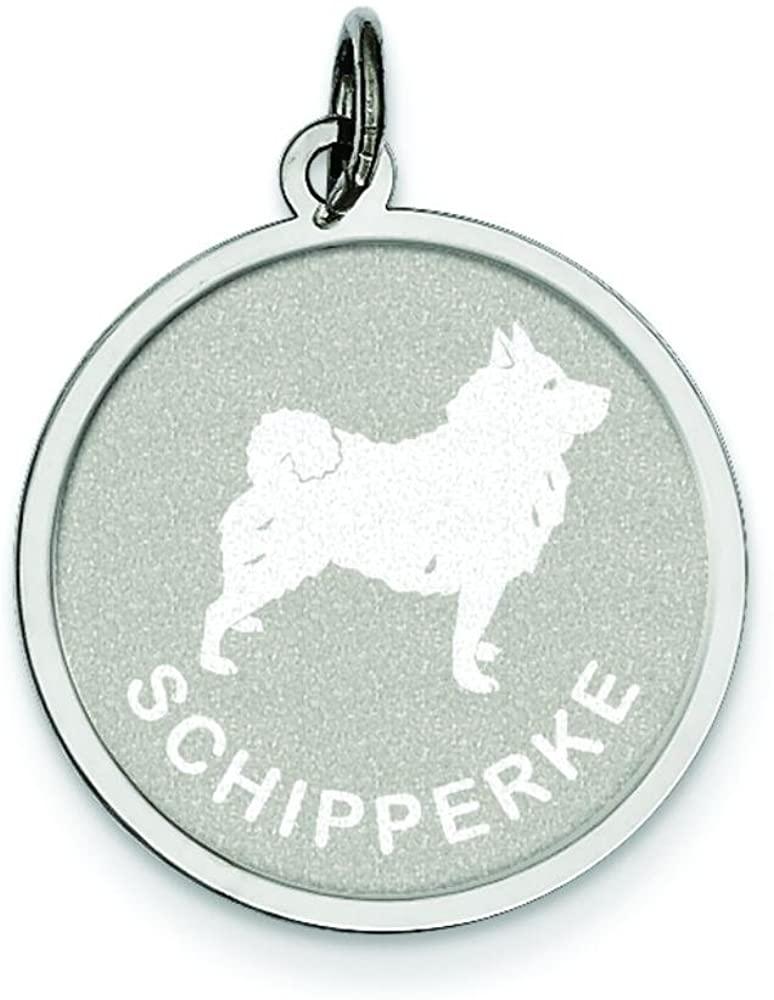 Sterling Silver Schipperke Disc Charm Jewelry
