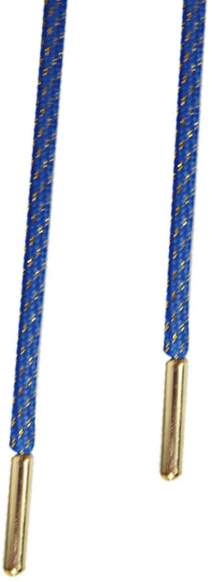 Lace Avenue Blue and Gold Rope Shoelaces with Gold Aglets - Comes with Lace Avenue Lace Locks (Blue/Gold/115cm)