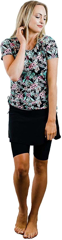 Ella Mae Modest Swimsuit for Women: Short Sleeve Rash Guard Swim Shirt & Swim Skirt w/Leggings (S-3X) UPF 50+