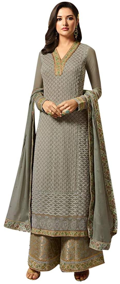 Grey Faux Georgette with Karachi work Salwar Kameez Heavy Embroidered Indian Women Party wear Suit Semi-stitch 8619
