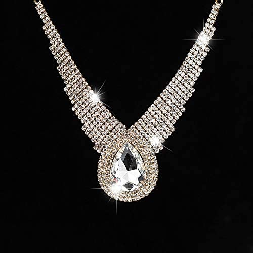 Davitu Fashion Personality Sexy Selling Dinner Super Large Drop Sparkling Full Rhinestone Crystal Necklace for Women Female #N005 - (Metal Color: Gold)
