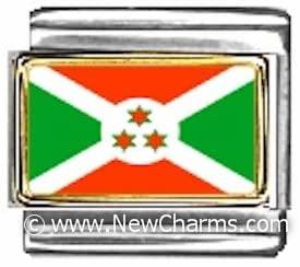 Burundi Photo Flag Italian Charm Bracelet Jewelry Link