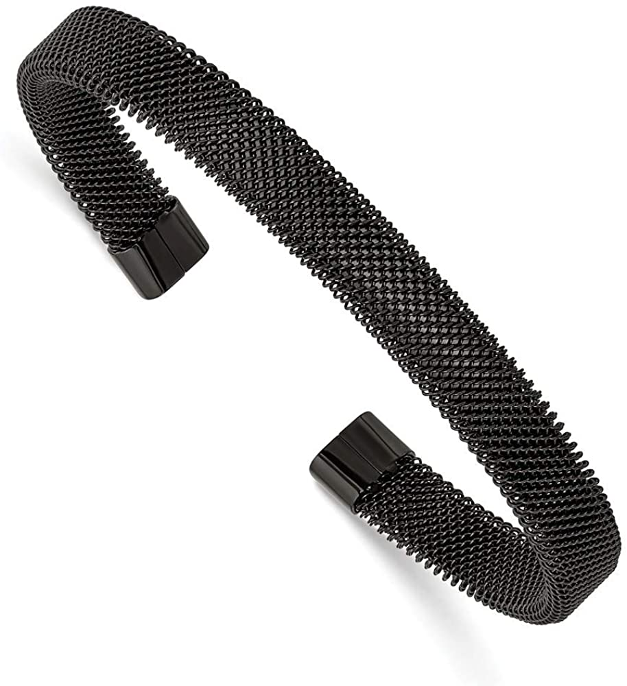 Stainless Steel Black IP Plated Mesh Cuff Bangle Bracelet 5/16 7