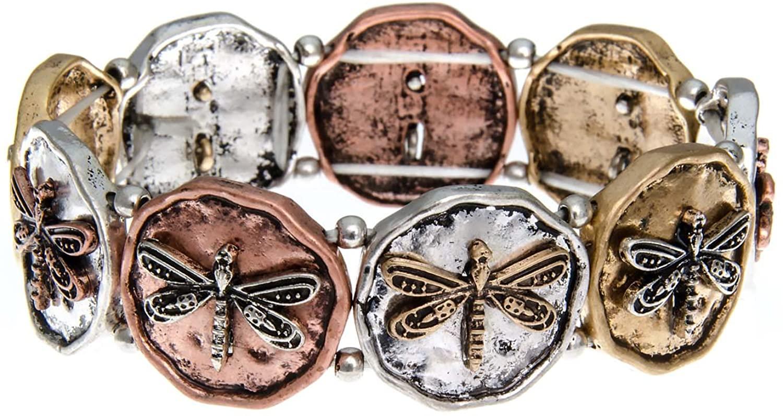 PammyJ Dragonfly on Tri Tone Round Disc Stretch Bracelet