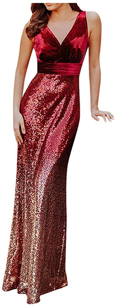 LENXH Ladies Fashion V-Neck Dress Gradient Stitching Evening Dress Sleeveless Fashion Dress