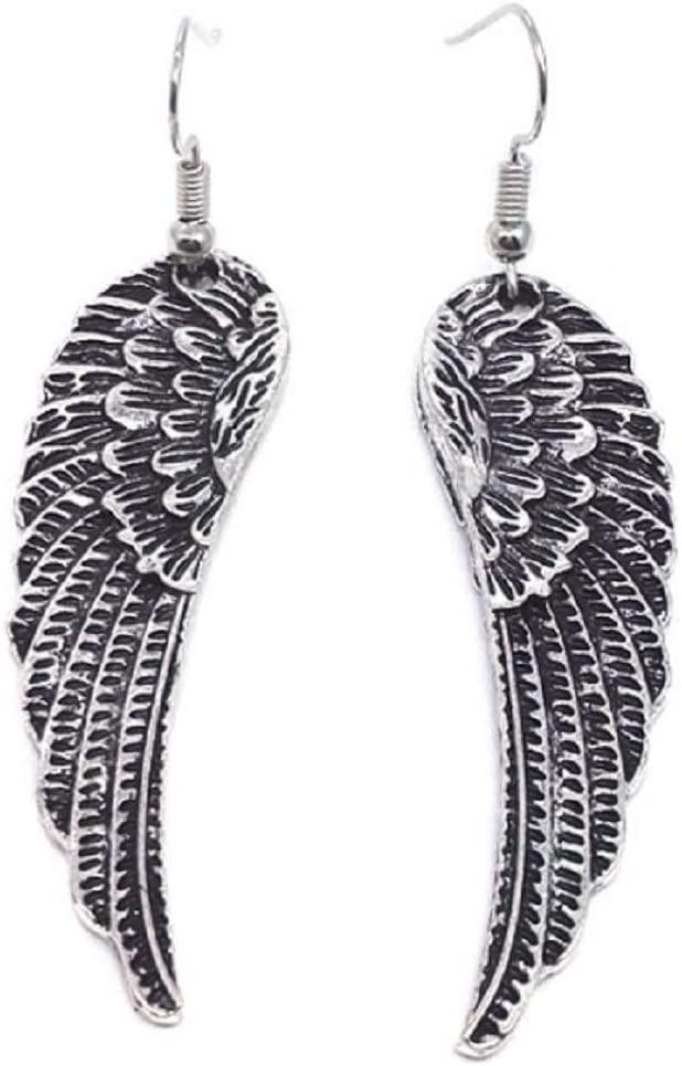 Lzz Vintage Sterling Silver Plated Angel Wing Earrings Long Angel Wings Feather Hook Charm Earrings