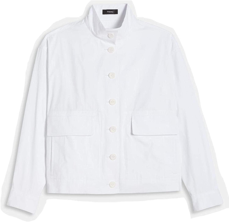 Theory White Blousson Bomber Jacket in Lofty Cotton Size Petite