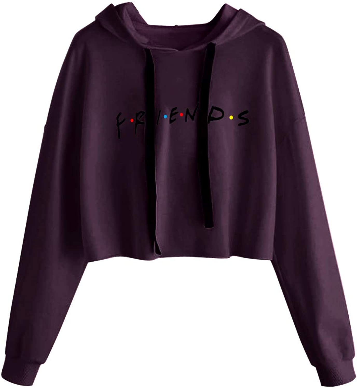 Idepet Women's Casual Friends Letters Print Crop Top Loose Pullover Friends Shirt Teen Girl TV Show Hoodie Sweatshirt