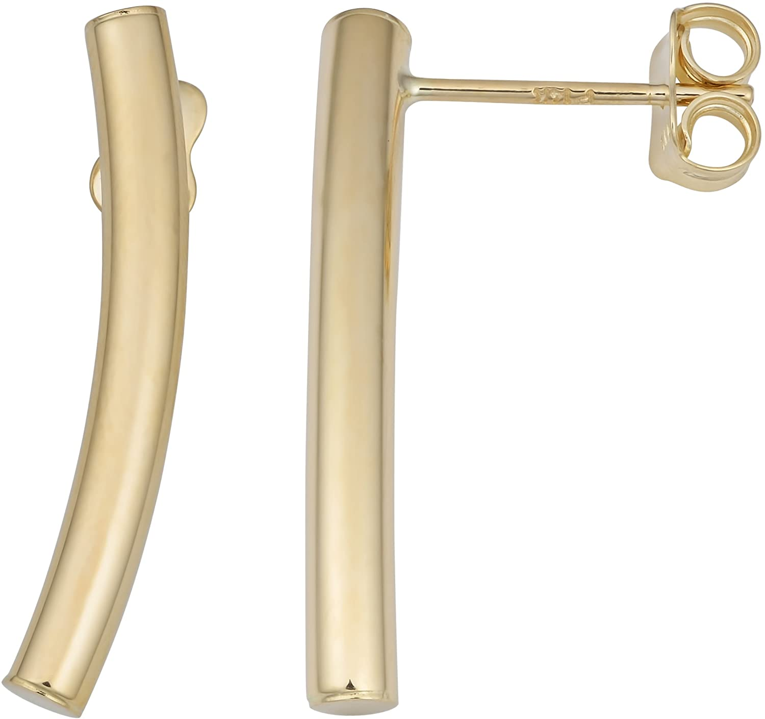 Kooljewelry 14k Yellow Gold Curved Bar Stud Earrings, 1 inch