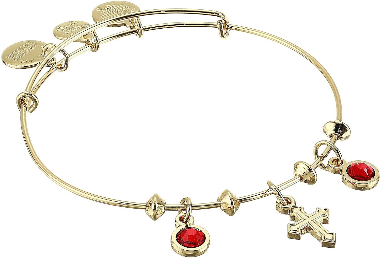 Alex and Ani Cross & Crystal Multi Charm Bangle Bracelet