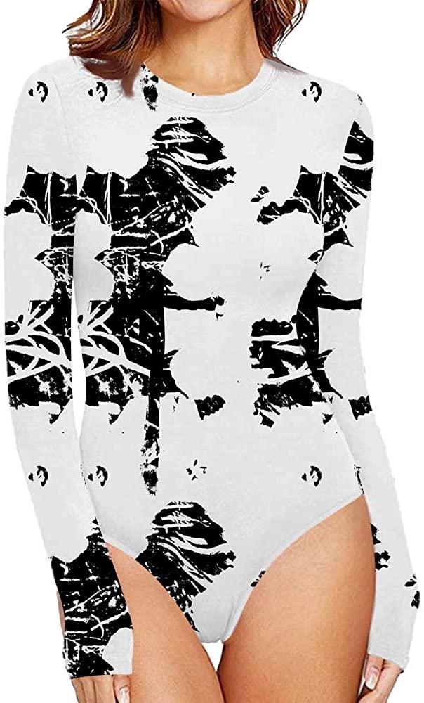 CHOO Women's Pattern Style Long Sleeve Tops Basic Round Collar Jumpsuits Bodysuit