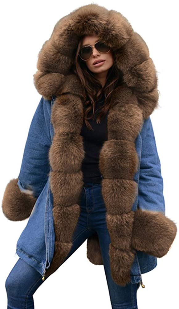 Cresay Women Thicken Winter Military Hooded Coat Jacket Faux Fur Lined Parkas Anoraks