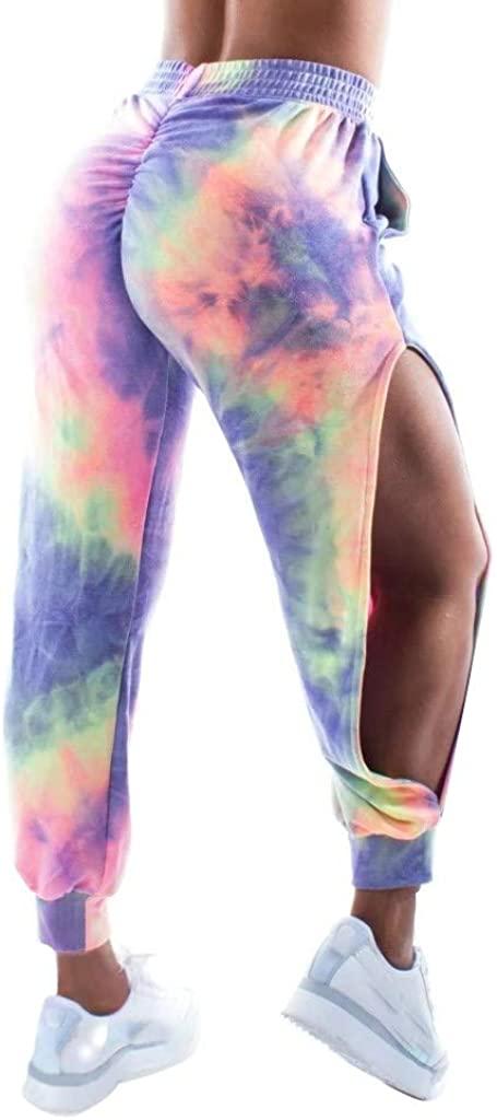 Jocund Women's Yoga Pants Fashion Tie-Dye Printed Elastic Waist Sweatpants Side Split Beam Sweatpants