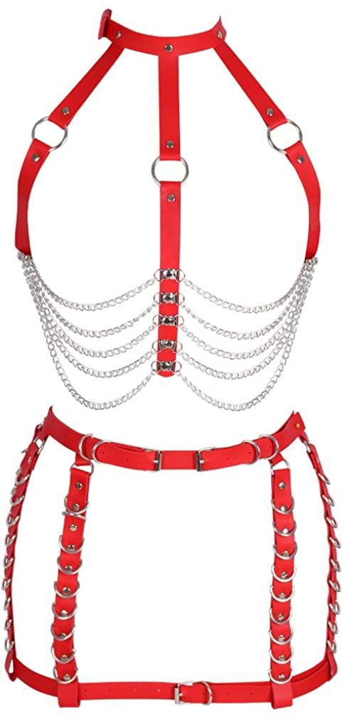 Women's full body harness bra Chest strap set Body chain Leather lingerie cage Waist belt Photography Dance Rock