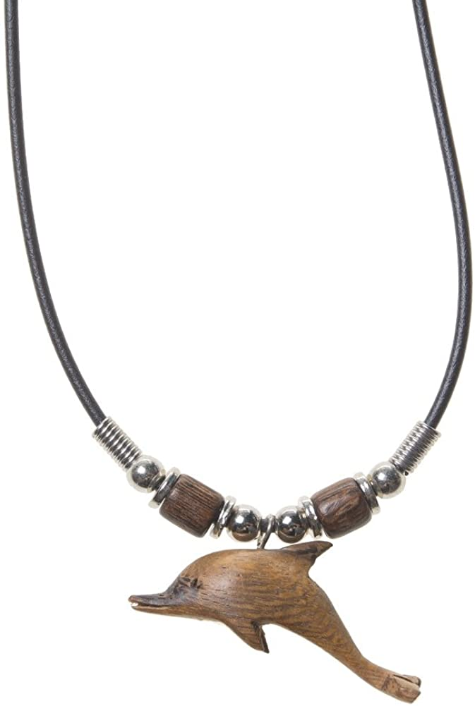Welcome to the Islands Brown Rubber Cord Necklace Wood Dolphin