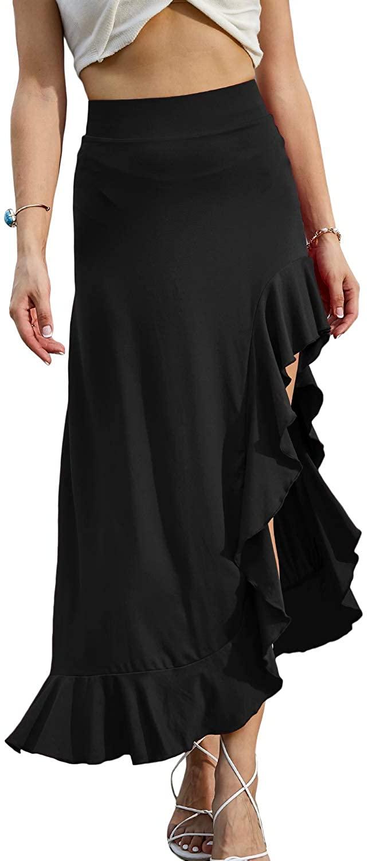 Doublju Womens Side Wrinkle Ruffle Point Long Skirt