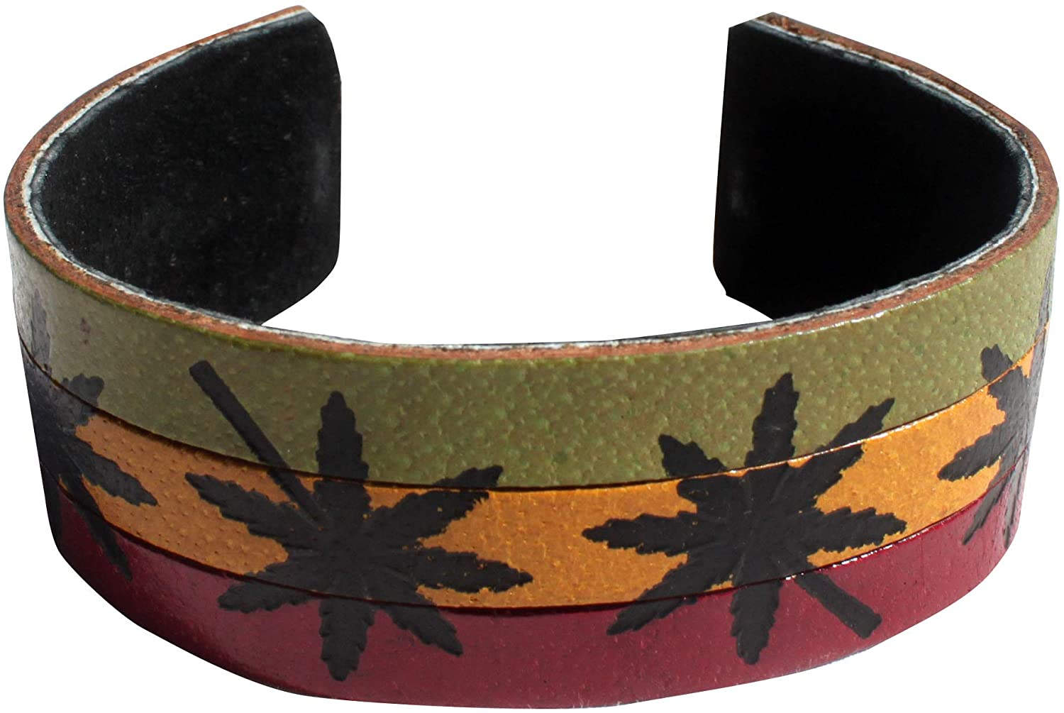 Full Funk Pure Ganja Flag Genuine Leather Wrap Thai Biker Bracelet