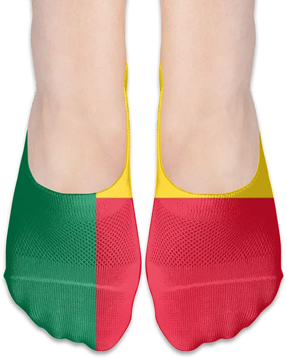 National Benin Flag No Show Socks Womens Low Cut Non Slip Ankle For Loafer