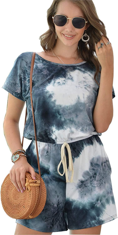ANMLON Women Tie Dye Print Two Piece Shorts Set Tracksuit Outfit Keyhole Short Sleeve Pajamas Set Jumpsuit Nightwear