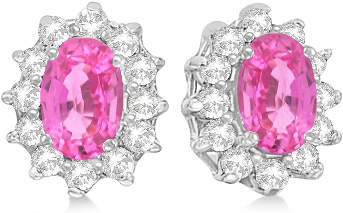 2.05ctw Kate Middleton Fashion Natural Oval-Cut Pink Sapphire and Diamond Accented Stud Earrings 14k White Gold