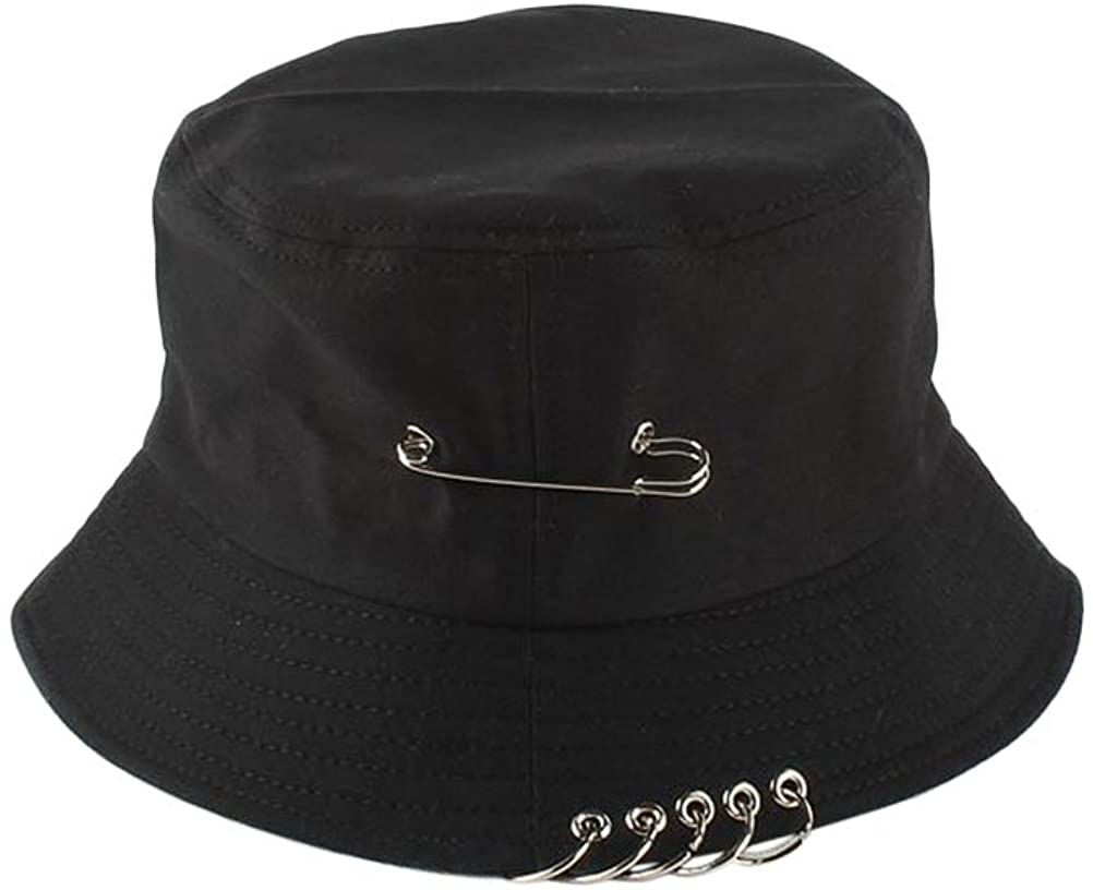 Chic Unisex Bucket Hat Sunhat Bonnie Caps Summer Packable with Pin Piercing Decorations (Black)
