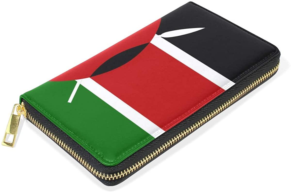 Slim Minimalist Leather Wallets For Women Men Kenya Flag