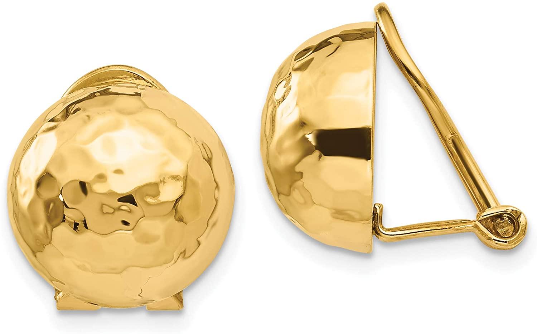 14k Omega Clip 12mm Hammered Non-pierced Earrings