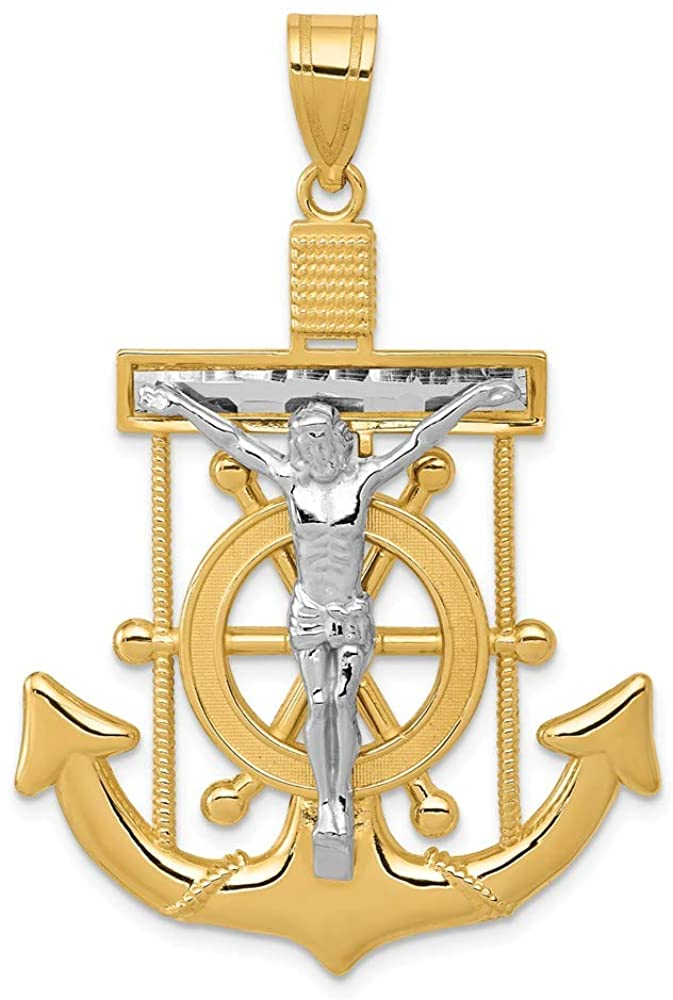 14K Yellow & White Gold Shiny-Cut Mariner's Cross Crucifix Pendant