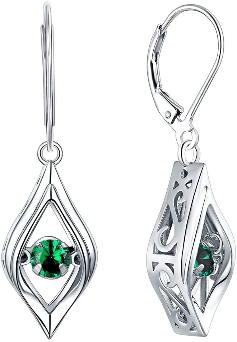 YL Eye Earrings 925 Sterling Silver Dancing Diamond Halo Dangle Earrings Created Emerald/Ruby/Sapphire/Zirconia Drop Jewelry
